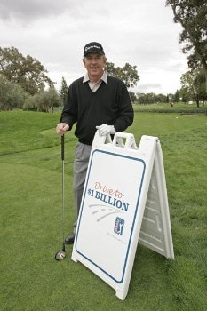 Hale Irwin poses with the persimmon driver used to promote the 'Drive To A Billion' campaign Wednesday October 26, during the 2005 Schwab Cup Championship at Sonoma Golf Club - Sonoma, California.Photo by Chris Condon/PGA TOUR/WireImage.com
