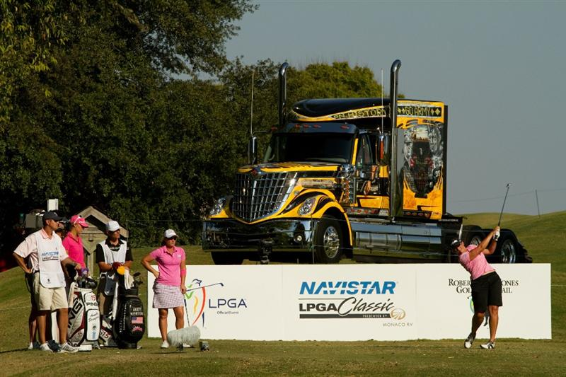 PRATTVILLE, AL - OCTOBER 8: Angela Stanford follows through on a tee shot during the second round of the Navistar LPGA Classic at the Senator Course at the Robert Trent Jones Golf Trail  on October 8, 2010 in Prattville, Alabama. (Photo by Darren Carroll/Getty Images)