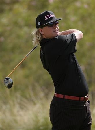 LAS VEGAS, NV- OCTOBER 18:  Charley Hoffman tees off the 3rd hole during the fourth and final  round of the Justin Timberlake Shriners Hospitals for Childeren Open at the TPC Summerland on October 18, 2009  in Las Vegas, Nevada. (Photo by Marc Feldman/Getty Images)