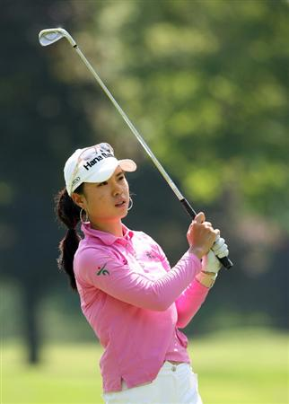 CLIFTON, NJ - MAY 15 : Hee Young Park of South Korea hits her second shot on the 9th hole during the second round of the Sybase Classic presented by ShopRite at Upper Montclair Country Club on May 15, 2009 in Clifton, New Jersey. (Photo by Hunter Martin/Getty Images)