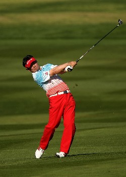 PEBBLE BEACH, CA - FEBRUARY 10:  Y.E. Yang of Korea hits his second shot on the second hole during the final round of the AT&T Pebble Beach National Pro-Am on Pebble Beach Golf Links on February 10, 2008 at Pebble Beach  in Pebble Beach. California.  (Photo by Stephen Dunn/Getty Images)