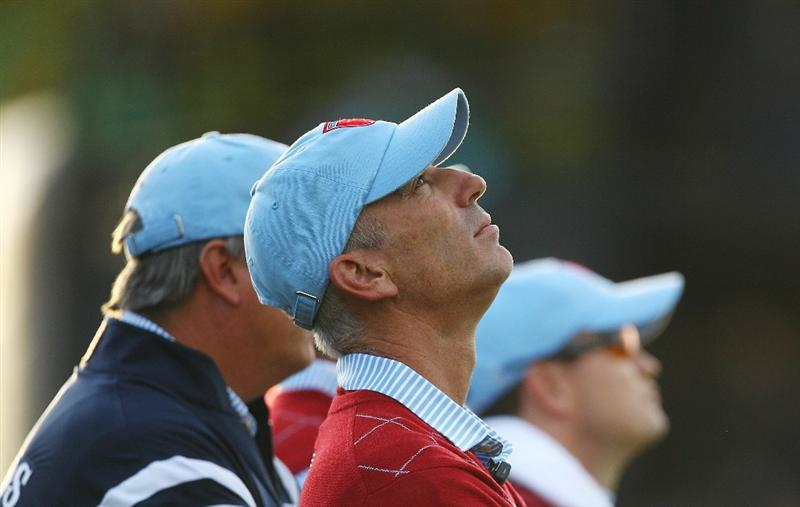 NEWPORT, WALES - OCTOBER 03:  USA Team Captain Corey Pavin looks skyward during the  Fourball & Foursome Matches during the 2010 Ryder Cup at the Celtic Manor Resort on October 3, 2010 in Newport, Wales.  (Photo by Richard Heathcote/Getty Images)