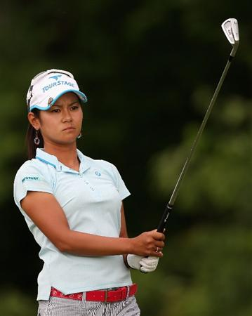 SPRINGFIELD, IL - JUNE 07:  Ai Miyazato of Japan hits a tee shot on the second hole during the fourth round of the LPGA State Farm Classic golf tournament at Panther Creek Country Club on June 7, 2009 in Springfield, Illinois.  (Photo by Christian Petersen/Getty Images)