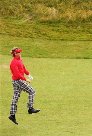 TURNBERRY, SCOTLAND - JULY 14:  Ian Poulter of England jumps up during a practice round prior to the 138th Open Championship on July 14, 2009 on the Ailsa Course, Turnberry Golf Club, Turnberry, Scotland.  (Photo by Andrew Redington/Getty Images)