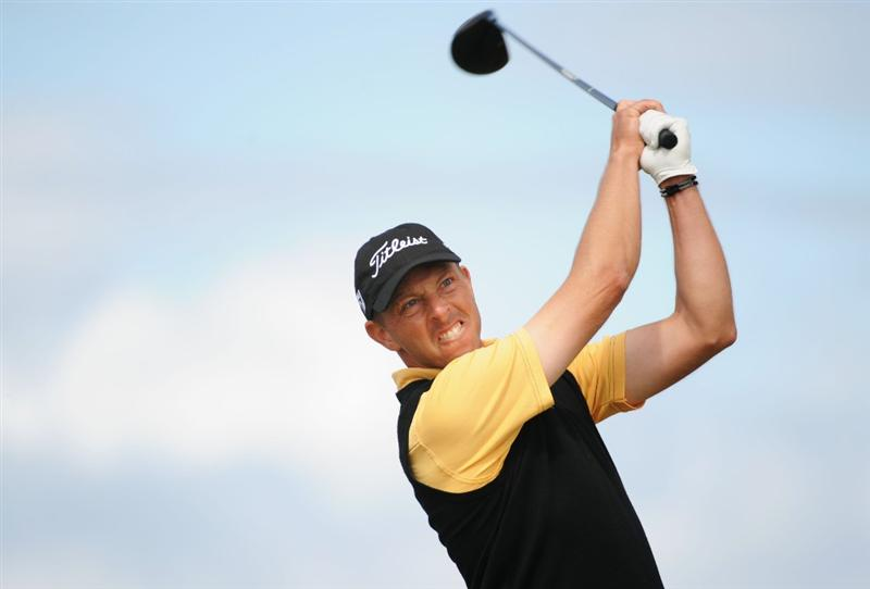 TURNBERRY, SCOTLAND - JULY 19:   Soren Hansen of Denmark tees off during the final round of the 138th Open Championship on the Ailsa Course, Turnberry Golf Club on July 19, 2009 in Turnberry, Scotland.  (Photo by Harry How/Getty Images)