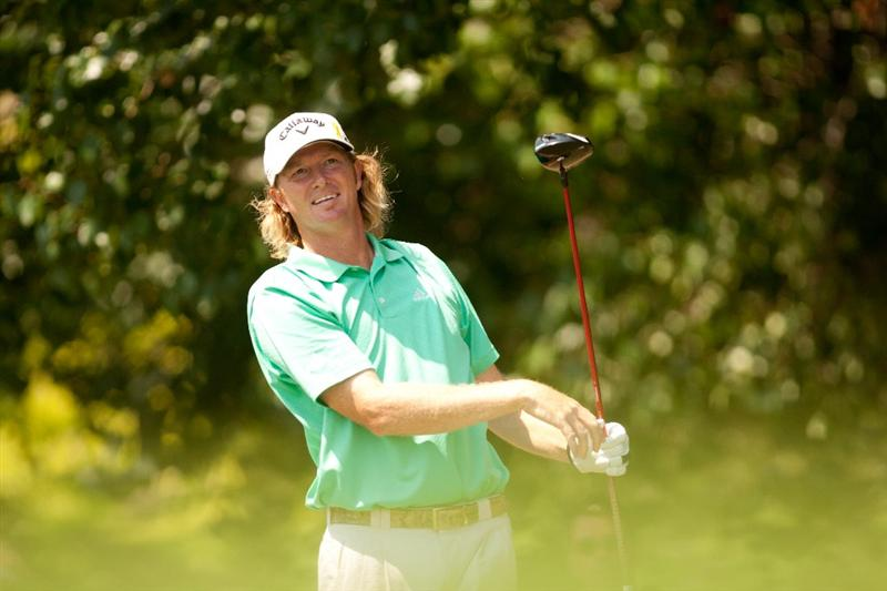 IRVING, TX - MAY 29: Tim Petrovic watches a tee shot during the final round of the HP Byron Nelson Championship at TPC Four Seasons at Las Colinas on May 29, 2011 in Irving, Texas. (Photo by Darren Carroll/Getty Images)