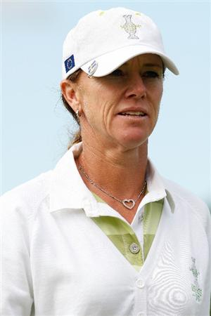 SUGAR GROVE, IL - AUGUST 22:  Helen Alfredsson of the European Team walks off of the 3rd hole during the Saturday morning Fourball matches at the 2009 Solheim Cup at Rich Harvest Farms on August 22, 2009 in Sugar Grove, Illinois.   Alfredsson and Tania Elosegui were defeated by Christina Kim and Michelle Wie of the U.S. Team.  (Photo by Chris Graythen/Getty Images)