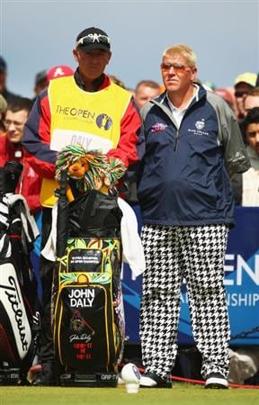 TURNBERRY, SCOTLAND - JULY 19:  John Daly of USA waits with his caddie Basil van Rooyen on the 1st tee during the final round of the 138th Open Championship on the Ailsa Course, Turnberry Golf Club on July 19, 2009 in Turnberry, Scotland.  (Photo by Richard Heathcote/Getty Images)