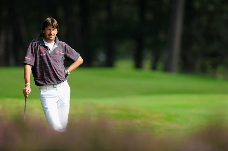 HILVERSUM, NETHERLANDS - SEPTEMBER 10:  Robert - Jan Derksen of The Netherlands ponders during the second round of  The KLM Open Golf at The Hillversumsche Golf Club on September 10, 2010 in Hilversum, Netherlands.  (Photo by Stuart Franklin/Getty Images)