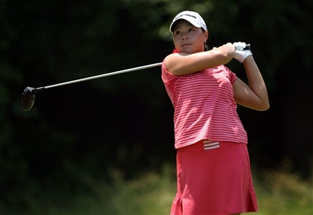 HAVRE DE GRACE, MD - JUNE 08:  Irene Cho hits her tee shot on the 4th hole during the final round of the McDonald's LPGA Championship at Bulle Rock Golf Course on June 8, 2008 in Havre de Grace, Maryland.  (Photo by Andy Lyons/Getty Images)