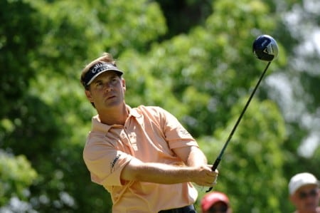Scott McCarron  drives from the 18th tee during the third round of the Cialis Western Open July 2, 2005 in Lemont, Illinois.Photo by Al Messerschmidt/WireImage.com