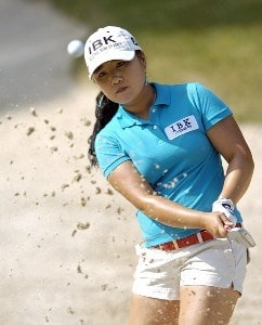 Jeong Jang hits out of a bunker during the second round of the LPGA Florida's Natural Charity Championship on Friday, April 21, 2006, at Eagle's Landing Country Club in Stockbridge, Georgia.Photo by Grant Halverson/WireImage.com
