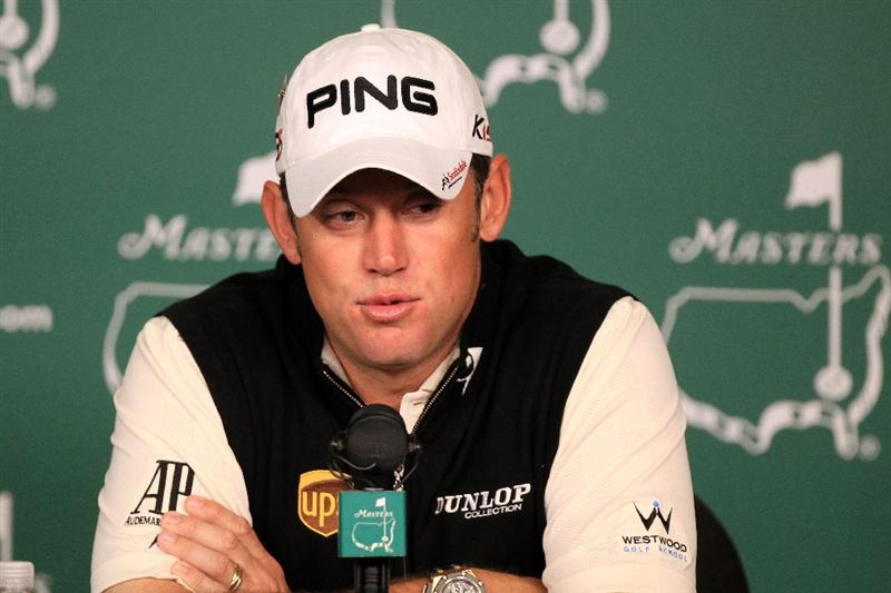 AUGUSTA, GA - APRIL 05:  Lee Westwood of England speaks with the media during a practice round prior to the 2011 Masters Tournament at Augusta National Golf Club on April 5, 2011 in Augusta, Georgia.  (Photo by David Cannon/Getty Images)