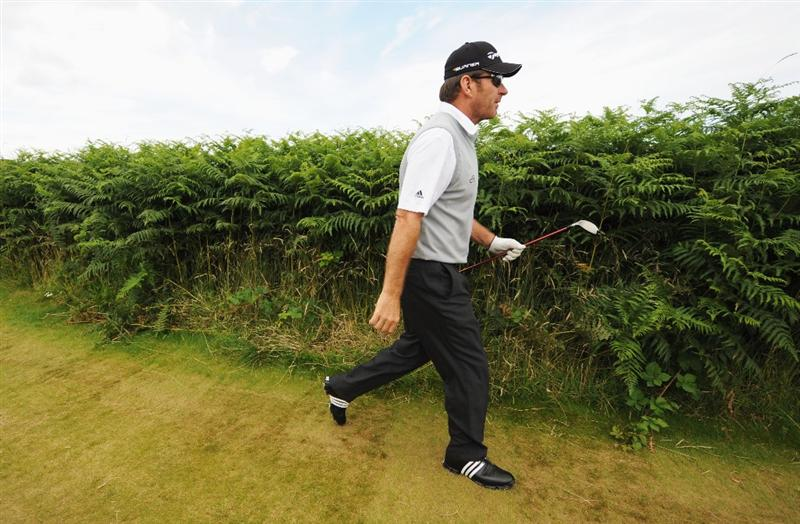 TURNBERRY, SCOTLAND - JULY 14:   Sir Nick Faldo of England walks off a tee box during a practice round prior to the 138th Open Championship on the Ailsa Course, Turnberry Golf Club on July 14, 2009 in Turnberry, Scotland.  (Photo by Harry How/Getty Images)