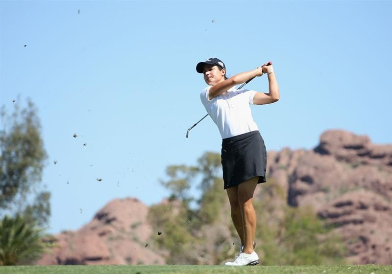 PHOENIX - MARCH 28:  Lorena Ochoa of Mexico hits her second shot on the third hole during the third round of the J Golf Phoenix LPGA International golf tournament at Papago Golf Course on March 28, 2009 in Phoenix, Arizona.  (Photo by Christian Petersen/Getty Images)