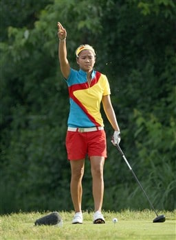 EDINA, MN - JUNE 26:  Jennifer Rosales of the Phillipines prepares to tee off at the 13th hole during the first round of the 2008 U.S. Women's Open Championship held at Interlachen Country Club on June 26, 2008 in Edina, Minnesota.  (Photo by David Cannon/Getty Images)