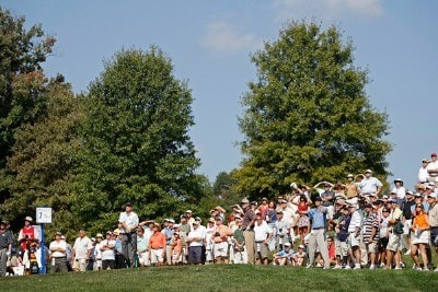 The gallery watches Loren Roberts tee off on #7 during the fourth round of the Constellation Energy Senior Players Championship at Baltimore Country Club/Five Farms (East Course) October 7, 2007 in Timonium, Maryland. Champions Tour - 2007 Constellation Energy Senior Players Championship - Final RoundPhoto by Chris Condon/PGA TOUR/WireImage.com