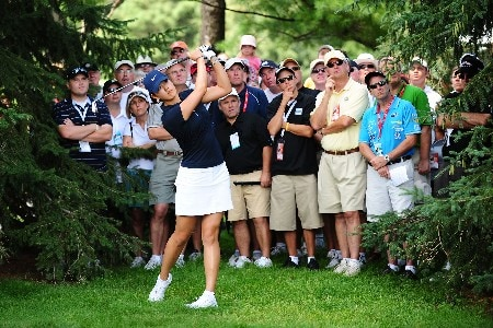 OTTAWA - AUGUST 16:  Michelle Wie makes a shot out of the rough on the first hole during the third round of the CN Canadian Women's Open at the Ottawa Hunt and Golf Club on August 16, 2008 in Ottawa, Ontario, Canada.  (Photo by Robert Laberge/Getty Images)