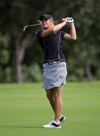 KAHUKU, HI - FEBRUARY 12:  Suzann Pettersen of Norway hits her second shot on the 7th hole during the first round of the SBS Open on February 12, 2009  at the Turtle Bay Resort in Kahuku, Hawaii.  (Photo by Andy Lyons/Getty Images)