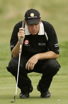 Brian Davis reads a putt during the final round of the 2005 Deutsche Bank Players' Championship at Gut Kaden Golf Club. July 24, 2005Photo by Pete Fontaine/WireImage.com