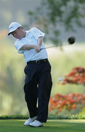 TIMONIUM, MD - OCTOBER 10:  Jeff Sluman hits a drive during the second round of the Constellation Energy Senior Players Championship at Baltimore Country Club East Course held on October 10, 2008 in Timonium, Maryland  (Photo by Michael Cohen/Getty Images)