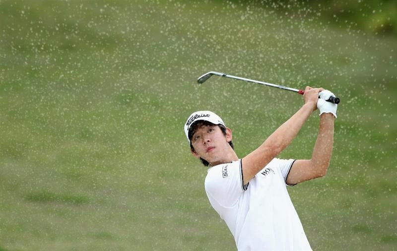 CASARES, SPAIN - MAY 20:  Seung-yul Noh of Korea plays out of the second greenside bunker during the group stages of the Volvo World Match Play Championships at Finca Cortesin on May 20, 2011 in Casares, Spain.  (Photo by Warren Little/Getty Images)