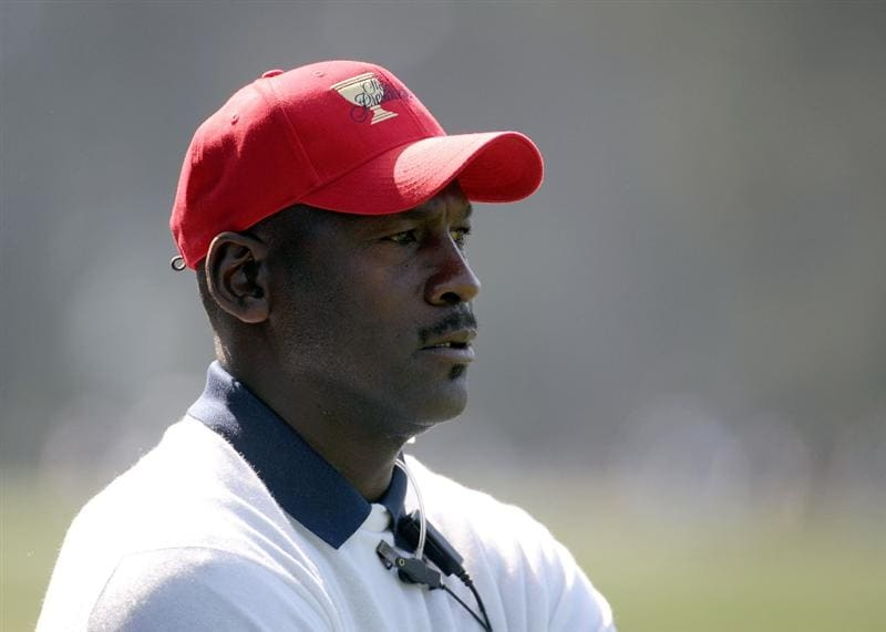 SAN FRANCISCO - OCTOBER 09:  Michael Jordan Assistant of the USA Team watches on the second hole during the Day Two Fourball Matches of The Presidents Cup at Harding Park Golf Course on October 9, 2009 in San Francisco, California.  (Photo by Harry How/Getty Images)