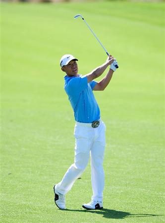 PALM BEACH GARDENS, FL - MARCH 07:  Anthony Kim plays a shot on the 6th hole during the final round of the Honda Classic at PGA National Resort And Spa on March 7, 2010 in Palm Beach Gardens, Florida.  (Photo by Sam Greenwood/Getty Images)