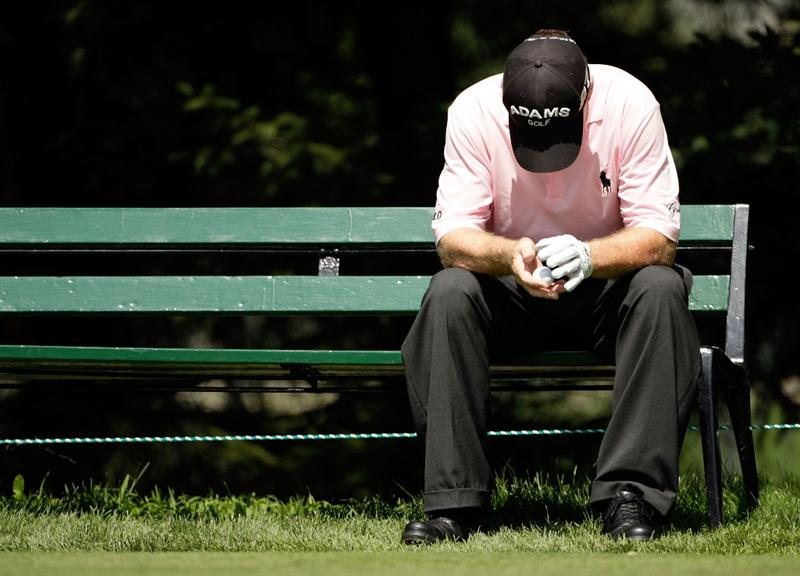 CARMEL, IN - JULY 31:  Tom Watson of the USA waits on a bench to tee off on the 6th hole during the second round of the 2009 U.S. Senior Open on July 31, 2009 at Crooked Stick Golf Club in Carmel, Indiana.  (Photo by Jamie Squire/Getty Images)