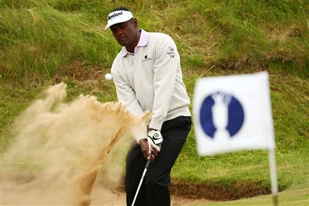 SOUTHPORT, UNITED KINGDOM - JULY 16:  Vijay Singh of Fiji hits a bunker shot on the 4rd hole during the third practice round of the 137th Open Championship on July 16, 2008 at Royal Birkdale Golf Club, Southport, England.  (Photo by Richard Heathcote/Getty Images)