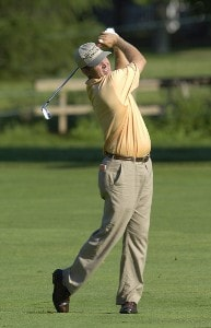 Jason Bohn during the continuation of the first round of the U.S. Bank Championship in Milwaukee at Brown Deer Park Golf Course in Milwaukee, Wisconsin, on July 28, 2006.Photo by Steve Levin/WireImage.com
