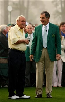 AUGUSTA, GA - APRIL 10:  William Porter Payne, Chairman of the Augusta National Golf Club, waits with honorary starter Arnold Palmer on the first tee during the first round of the 2008 Masters Tournament at Augusta National Golf Club on April 10, 2008 in Augusta, Georgia.  (Photo by Andrew Redington/Getty Images)