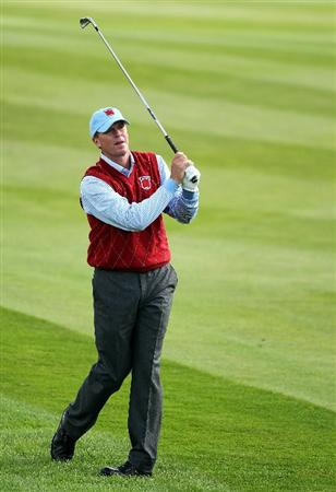 NEWPORT, WALES - SEPTEMBER 28:  Steve Stricker  of the USA hits an iron shot during a practice round prior to the 2010 Ryder Cup at the Celtic Manor Resort on September 28, 2010 in Newport, Wales.  (Photo by Andy Lyons/Getty Images)