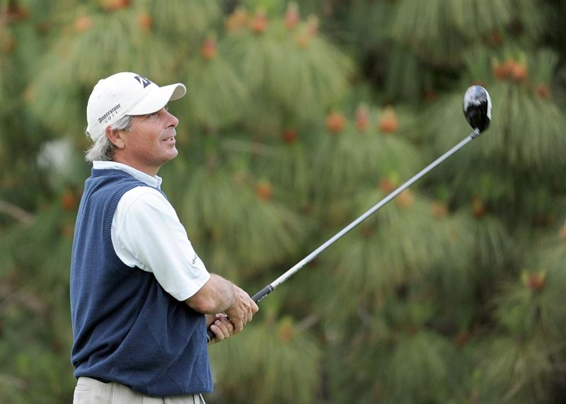 NEWPORT BEACH, CA - MARCH 07:  Fred Couples watches his tee shot on the 18th hole during the third round of the Toshiba Classic at the Newport Beach Country Club on March 7, 2010 in Newport Beach, California.  Couples would go on to win the tournament.  (Photo by Harry How/Getty Images)