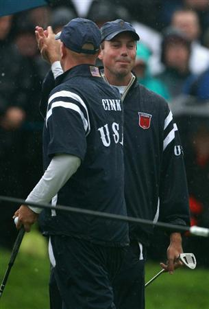NEWPORT, WALES - OCTOBER 01:  Matt Kuchar and Stewart Cink of the USA celebrate a birdie on the third hole during the Morning Fourball Matches during the 2010 Ryder Cup at the Celtic Manor Resort on October 1, 2010 in Newport, Wales.  (Photo by Andrew Redington/Getty Images)