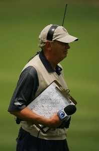 John Mahaffey reports on the action for the Golf Channel during the first round of the FedEx Kinko's Classic held at The Hills Country Club in Austin, Texas, on April 28, 2006. Photo by Sam Greenwood/WireImage.com
