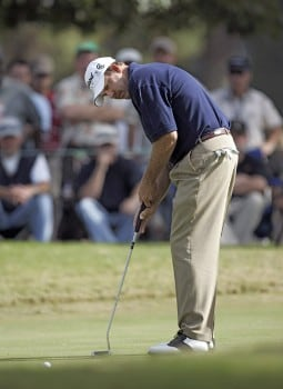 Bart Bryant putting on the fourth green during the second round of THE TOUR Championship at East Lake Golf Club in Atlanta, Georgia on November 4, 2005.Photo by Hunter Martin/WireImage.com