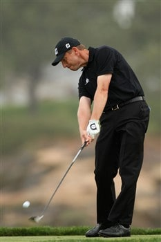 SAN DIEGO - JUNE 11:  Soren Hansen of Denmark hits a shot during the third day of previews to the 108th U.S. Open at the Torrey Pines Golf Course (South Course) on June 11, 2008 in San Diego, California.  (Photo by Ross Kinnaird/Getty Images)