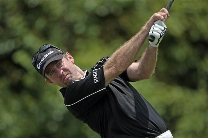 AVONDALE, LA - APRIL 26: Rod Pampling of Australia tees off on the 2nd hole during the final round of the Zurich Classic at TPC Louisiana on April 26, 2009  in Avondale, Louisiana. (Photo by Dave Martin/Getty Images)