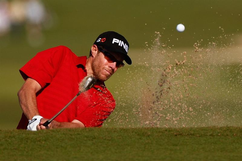 RIVIERA MAYA, MEXICO - FEBRUARY 26:  Nick O'Hern chips out of a bunker during the first round of the Mayakoba Golf Classic on February 26, 2009 at El Camaleon Golf Club in Riviera Maya, Mexico.  (Photo by Chris Graythen/Getty Images)