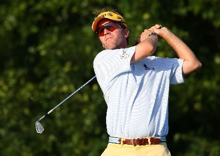 TULSA, OK - AUGUST 10:  Brett Quigley hits his tee shot on the 11th hole during the second round of the 89th PGA Championship at the Southern Hills Country Club on August 10, 2007 in Tulsa, Oklahoma.  (Photo by Stuart Franklin/Getty Images)