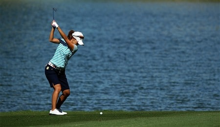 RANCHO MIRAGE, CA - APRIL 3:  Momoko Ueda of Japan plays her second shot at the sixth hole during the first round of the Kraft Nabisco Championship at the Mission Hills Country Club April 3, 2008 in Rancho Mirage, California.  (Photo by David Cannon/Getty Images)