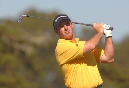Peter Lonard hitting off the 11th tee during the first round of The World Golf Championships 2005 American Express Championship at Harding Park Golf Club in San Francisco, California on October 6, 2005.Photo by Steve Grayson/WireImage.com