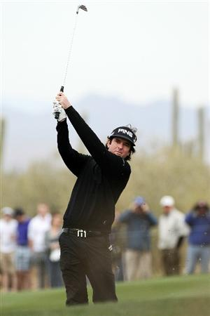 MARANA, AZ - FEBRUARY 26:  Bubba Watson hits a shot on the ninth hole during the quarterfinal round of the Accenture Match Play Championship at the Ritz-Carlton Golf Club on February 26, 2011 in Marana, Arizona.  (Photo by Sam Greenwood/Getty Images)