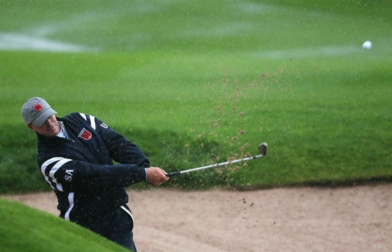 NEWPORT, WALES - OCTOBER 01:  Steve Stricker of the USA hits a bunker shot on the first hole during the Morning Fourball Matches during the 2010 Ryder Cup at the Celtic Manor Resort on October 1, 2010 in Newport, Wales.  (Photo by Andy Lyons/Getty Images)