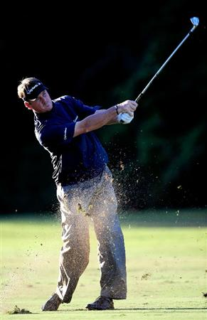 LAKE BUENA VISTA, FL - NOVEMBER 13:  Todd Hamilton hits a shot on the 9th hole during the second round of the Children's Miracle Network Classic at the Disney Palm and Magnolia courses on November 13, 2009 in Lake Buena Vista, Florida.  (Photo by Sam Greenwood/Getty Images)