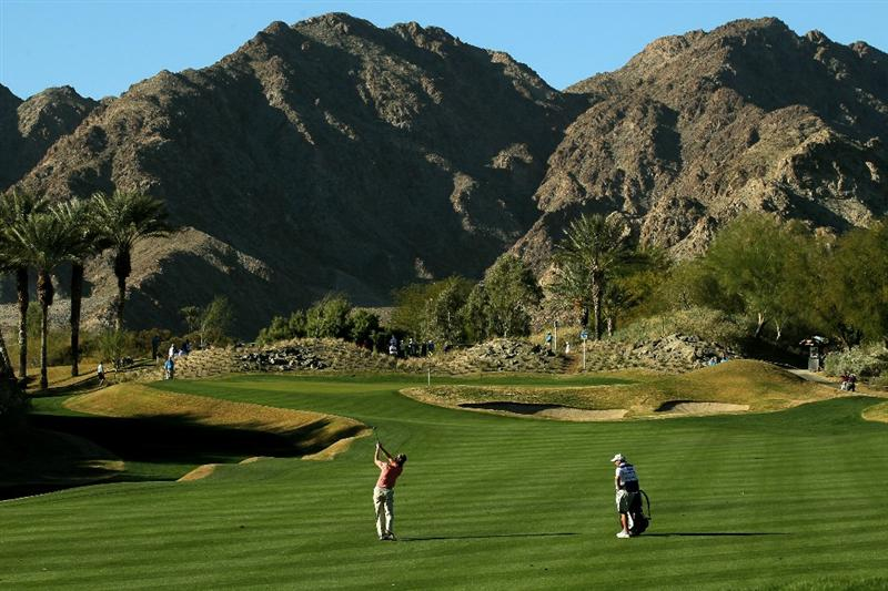 LA QUINTA, CA - JANUARY 21:  Brad Faxon hits to the 15th green during round three of the Bob Hope Classic at the Nicklaus Private Course at PGA West on January 21, 2011 in La Quinta, California.  (Photo by Stephen Dunn/Getty Images)