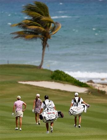 MONTEGO BAY, JAMAICA - APRIL 15:  Cristie Kerr of the United States and Beatriz Recari of Spain walk down the fifth fairway during the first round of The Mojo 6 Jamaica LPGA Invitational at Cinnamon Hill Golf Course on April 15, 2010 in Montego Bay, Jamaica.  (Photo by Kevin C. Cox/Getty Images)