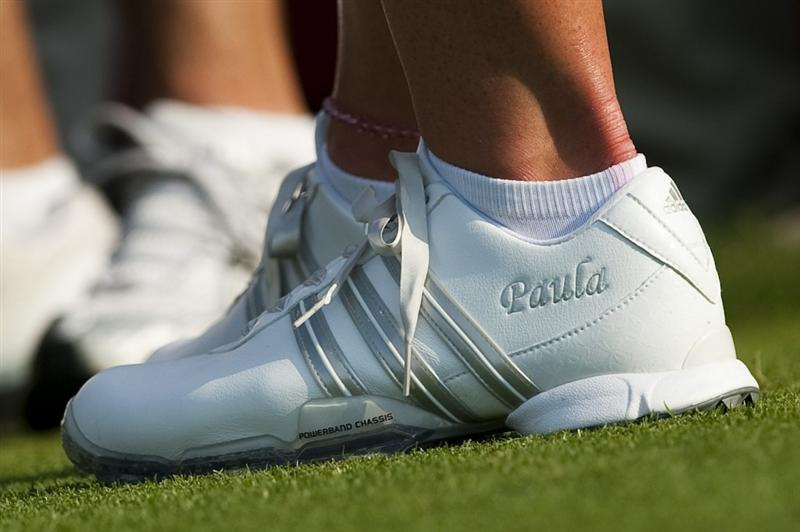 CHON BURI, THAILAND - FEBRUARY 18:  Paula Creamer wears Adidas personalised shoes pictured during day two of the LPGA Thailand at Siam Country Club on February 18, 2011 in Chon Buri, Thailand.  (Photo by Victor Fraile/Getty Images)