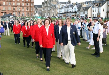 ST. ANDREWS, UNITED KINGDOM - MAY 29:  Carole Semple Thompson (front L), captain of the USA team and Mary McKenna (front R), captain of the Great Britain and Ireland team lead their respective teams away from the Opening Ceremony for the 2008 Curtis Cup matches on the Old Course at St Andrews on May 29, 2008 in St Andrews, Scotland.  (Photo by David Cannon/Getty Images)